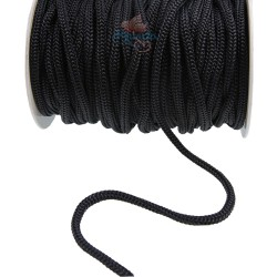 Braid Nylon Cord Black 6mm - 1 Meter