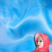 "Senorita Organdy Scarf Tudung Plain 45"" Pool Blue - #550"