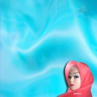 "Senorita Organdy Scarf Tudung Plain 45"" Sea Blue - #A547"