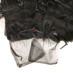 Small Organza Pouch Black (9cm x 14.5cm) - 50pcs