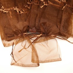 Small Organza Pouch Brown (9cm x 14.5cm) - 50pcs