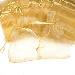 Small Organza Pouch Light Gold (9cm x 14.5cm) - 50pcs