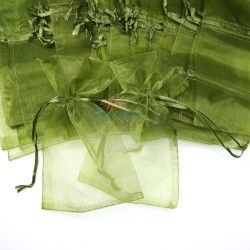 Medium Organza Pouch Olive Green (13.5cm x 21cm) - 20pcs