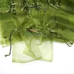 Big Organza Pouch Olive Green (17.5cm x 30cm) - 20pcs