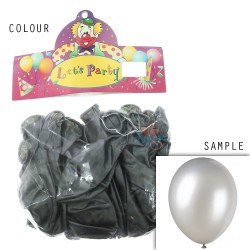 "12"" Plain Metallic Balloon Party - Dark Grey (24pcs)"