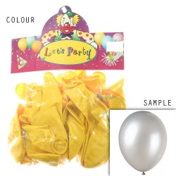 "12"" Plain Metallic Balloon Party - Yellow (24pcs)"