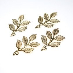 Gold Plated Filigree Leaf - 4 pcs/pack