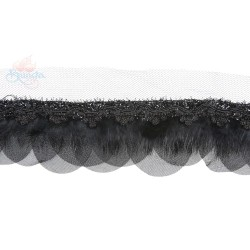 Round Feather Trimming Lace Black - 1 Meter