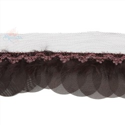 Round Feather Trimming Lace Brown - 1 Meter