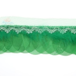 Round Feather Trimming Lace Green - 1 Meter