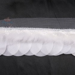 Round Feather Trimming Lace White - 1 Meter