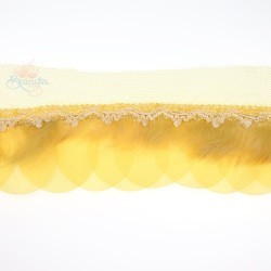Round Feather Trimming Lace Yellow - 1 Meter