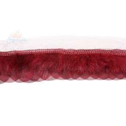 Round Feather Trimming Lace Maroon - 1 Meter