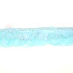 Round Feather Trimming Lace Pool Blue - 1 Meter