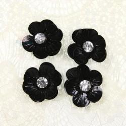#3027 Shell Sequin Diamond Flower Black - 4 pcs