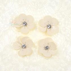 #3027 Shell Sequin Diamond Flower Cream - 4 pcs