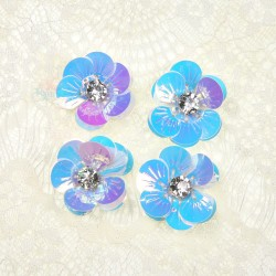 #3027 Shell Sequin Diamond Flower Iridescent - 4 pcs