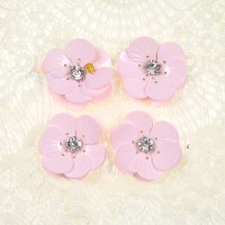 #3027 Shell Sequin Diamond Flower Light Pink - 4 pcs