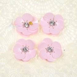 #3027 Shell Sequin Diamond Flower Light Pink - 4 pcs