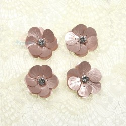 #3027 Shell Sequin Diamond Flower Rose Gold - 4 pcs