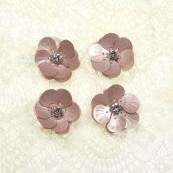 #3027 Shell Sequin Diamond Flower Rose Gold - 4 pcs