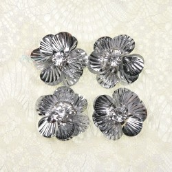 #3027 Shell Sequin Diamond Flower Silver - 4 pcs