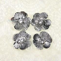 #3027 Shell Sequin Diamond Flower Silver - 4 pcs