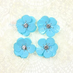 #3027 Shell Sequin Diamond Flower Sky Blue - 4 pcs