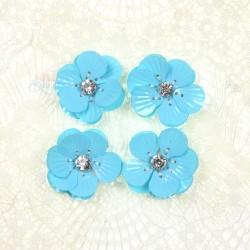 #3027 Shell Sequin Diamond Flower Sky Blue - 4 pcs