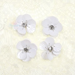 #3027 Shell Sequin Diamond Flower White - 4 pcs
