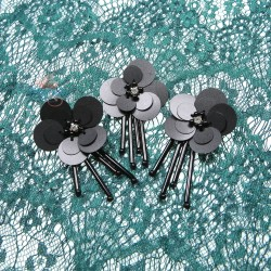 #3029 Sequin Bead Diamond Flower Black - 3 pcs