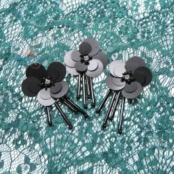 #3029 Sequin Bead Diamond Flower Black - 3 pcs