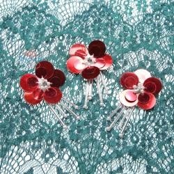 #3029 Sequin Bead Diamond Flower Red - 3 pcs