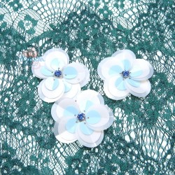#3028 Sequin Diamond Flower Sky Blue White - 3 pcs