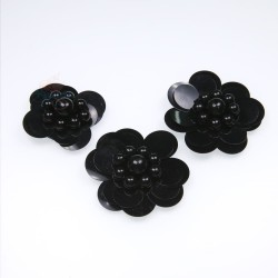 #3031 Sequin Pearl Flower Black - 3 pcs