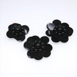 #3031 Sequin Pearl Flower Black - 3 pcs