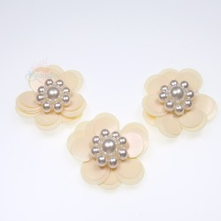 #3031 Sequin Pearl Flower Cream - 3 pcs