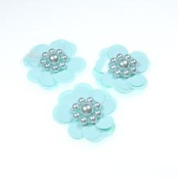 #3031 Sequin Pearl Flower Mint Green - 3 pcs