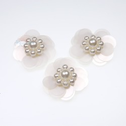 #3031 Sequin Pearl Flower Off White - 3 pcs