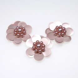 #3031 Sequin Pearl Flower Rose Gold - 3 pcs