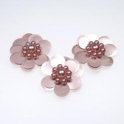 #3031 Sequin Pearl Flower Rose Gold - 3 pcs