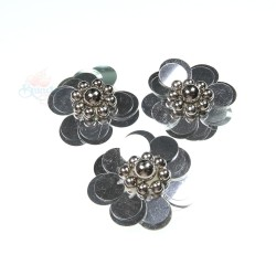 #3031 Sequin Pearl Flower Silver - 3 pcs