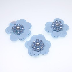 #3031 Sequin Pearl Flower Sky Blue - 3 pcs