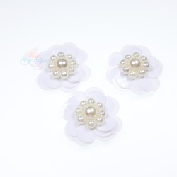 #3031 Sequin Pearl Flower White - 3 pcs