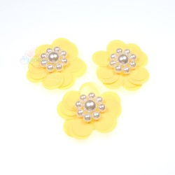 #3031 Sequin Pearl Flower Yellow - 3 pcs