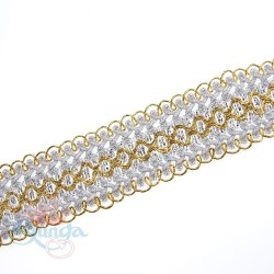 #511 Silver Gold Metallic Trimming - 1 Meter