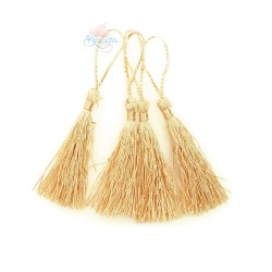 #066 Cotton Tassel 8cm - Cream Gold (4pcs)