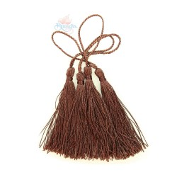 #066 Cotton Tassel 8cm - Dark Brown (4pcs)