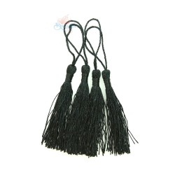 #066 Cotton Tassel 8cm - Black (4pcs)